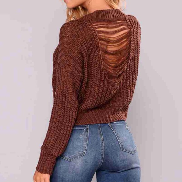 Cropped knitted sweater-Plum